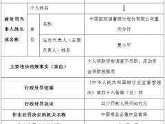中国邮政储蓄银行股份有限公司重庆分行个人贷款贷前调查不尽职